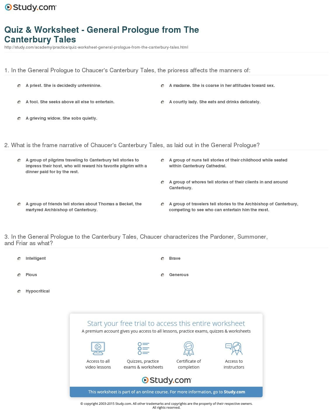 The Canterbury Tales The Prologue Worksheet