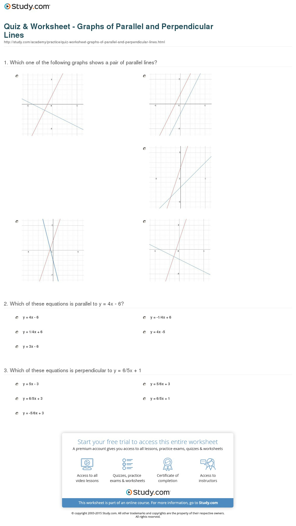 Quiz Worksheet Graphs Of Parallel And Perpendicular
