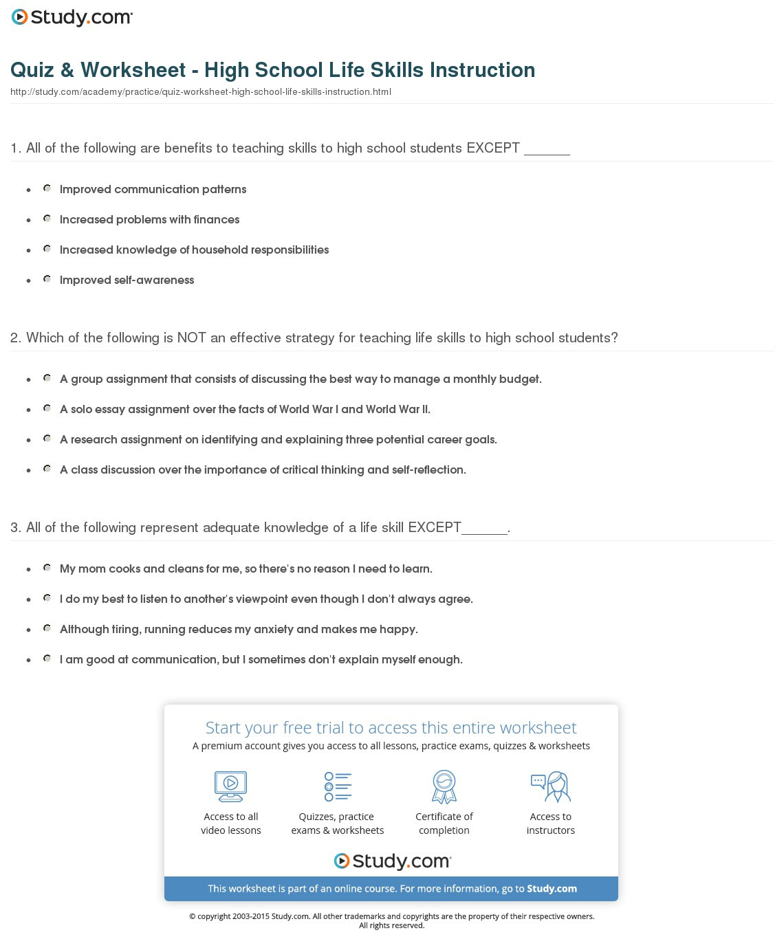 Life Skills Worksheets For Middle School Students