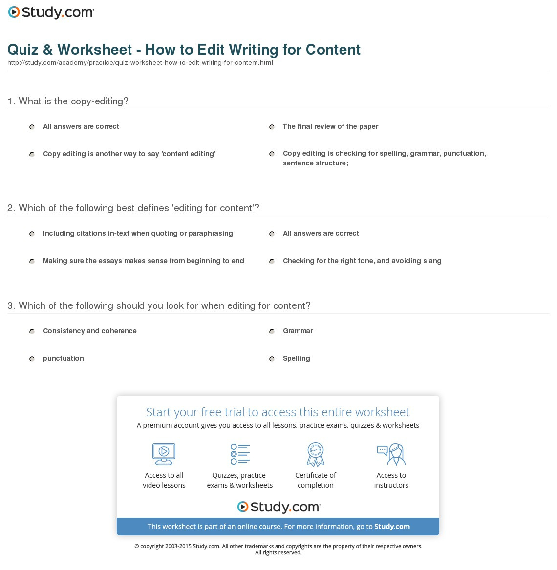 Quiz Worksheet How To Edit Writing For Content Study