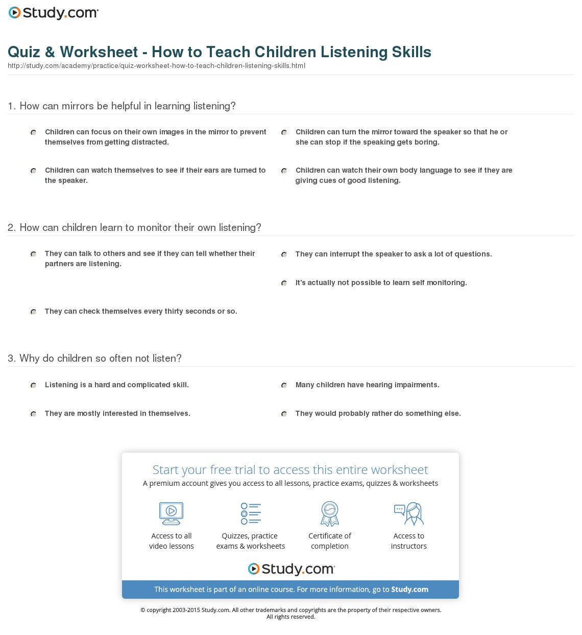 Quiz Worksheet How To Teach Children Listening Skills