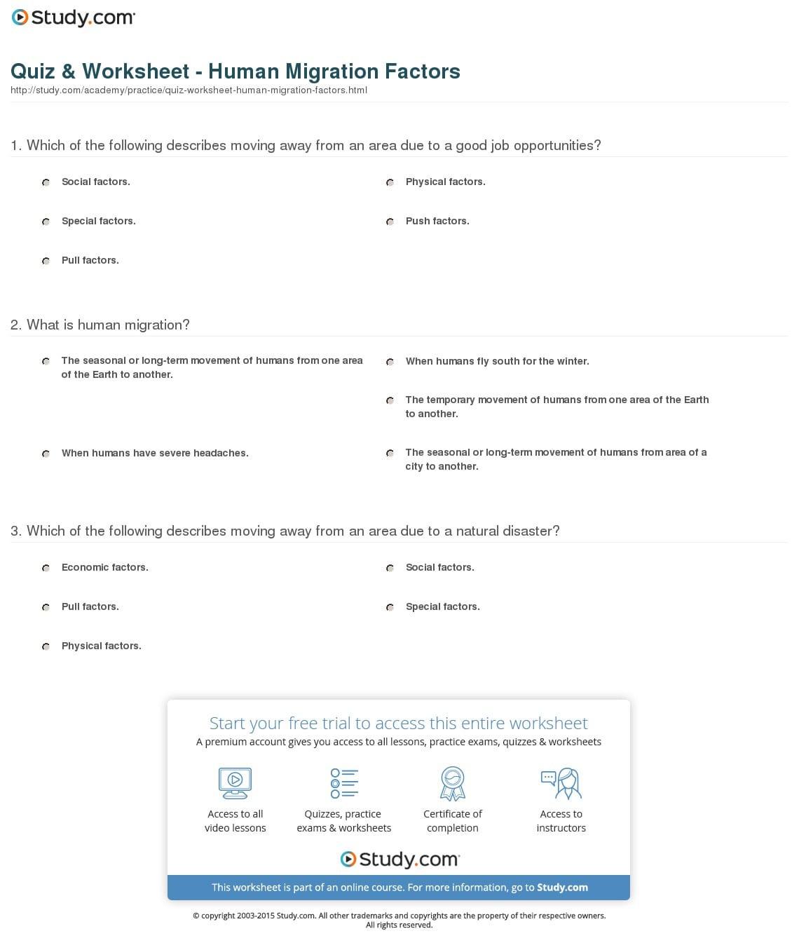 Quiz Worksheet Human Migration Factors Study