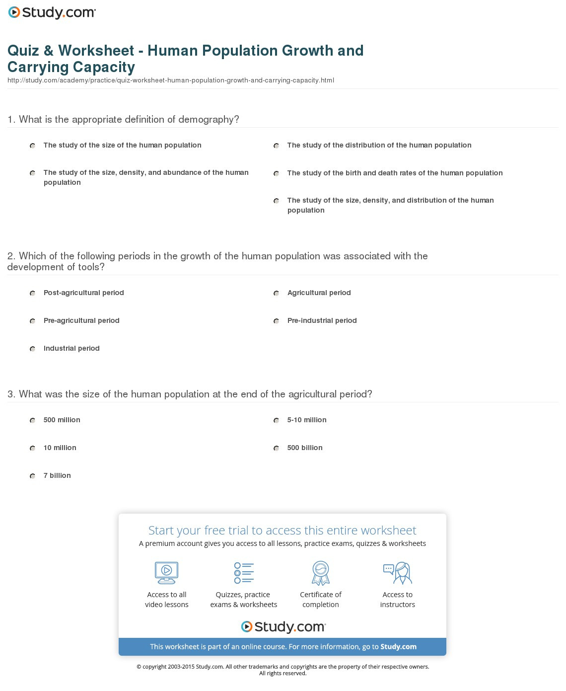 Quiz Worksheet Human Population Growth And Carrying