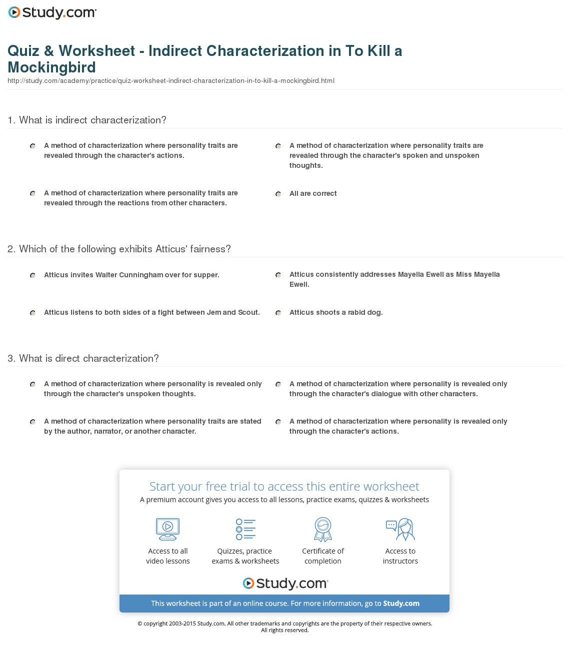 Quiz Worksheet Indirect Characterization In To Kill A