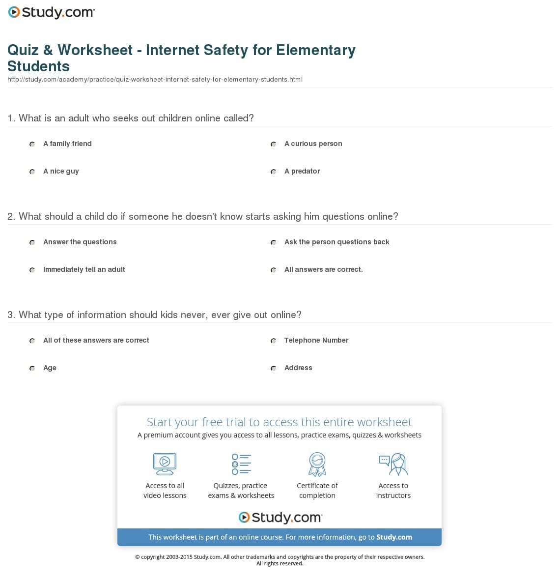 Internet Safety Worksheets For Elementary Students