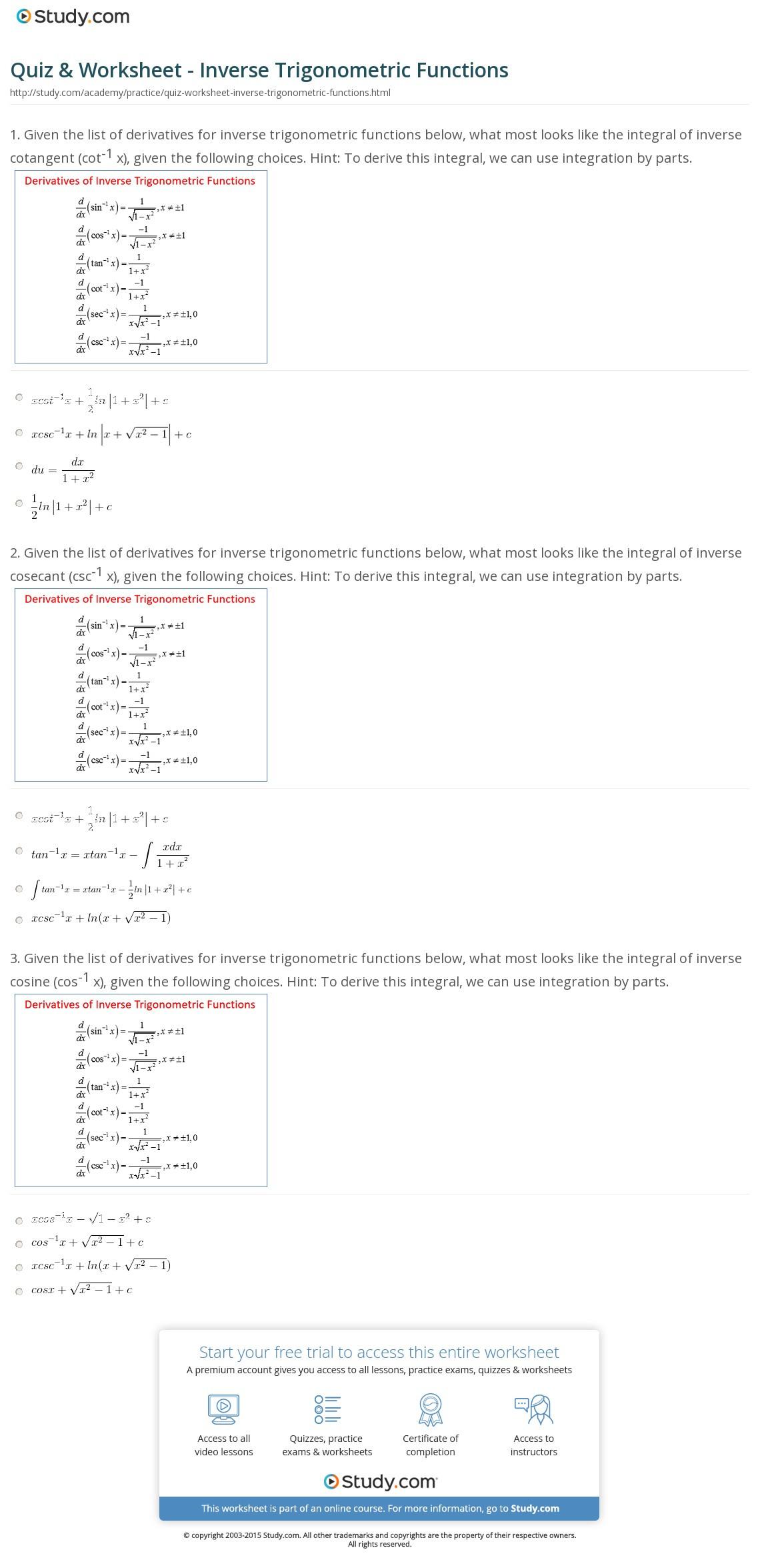 Quiz Worksheet Inverse Trigonometric Functions Study