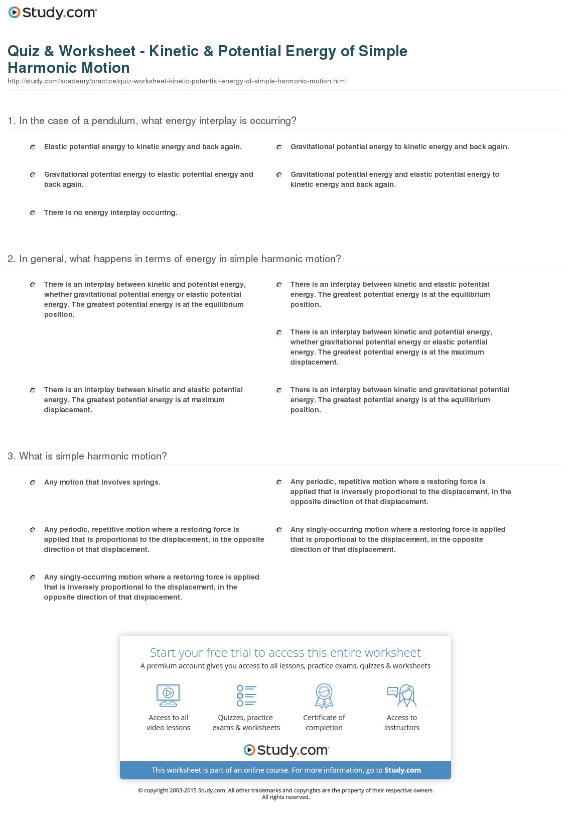 Quiz Worksheet Kinetic Potential Energy Of Simple