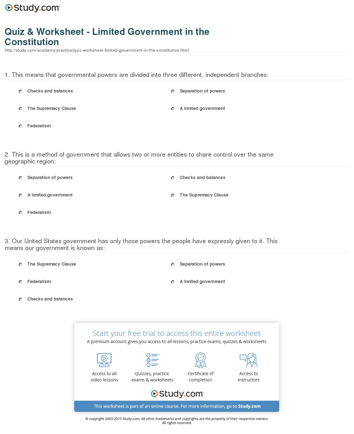 Quiz Worksheet Limited Ernment In The Constitution