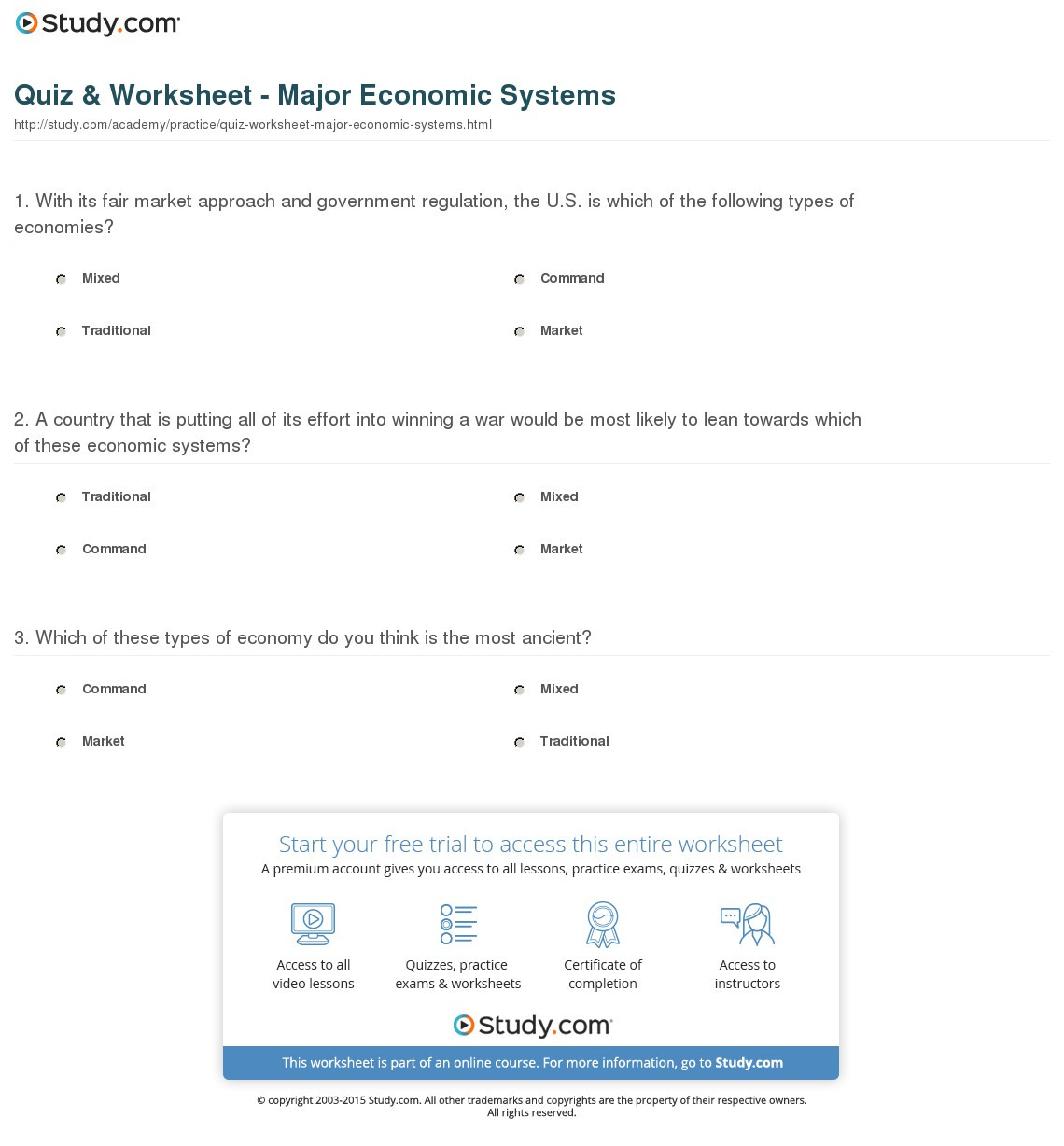 6th Grade Economics Worksheets