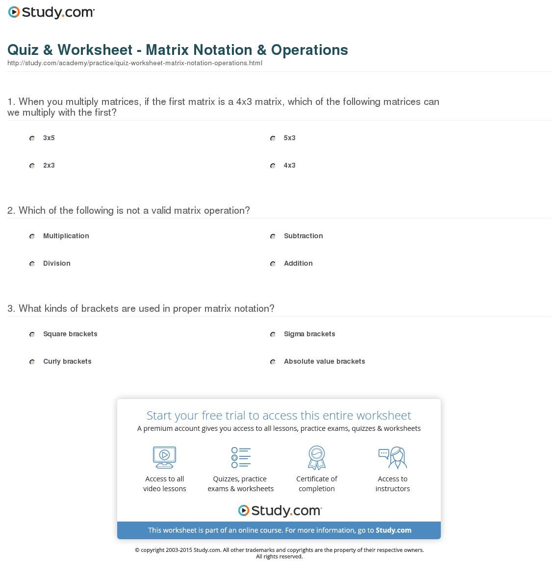Quiz Worksheet Matrix Notation Operations Study