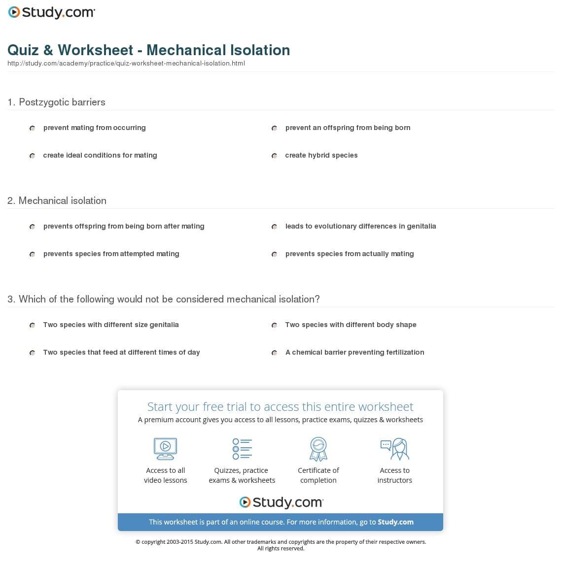 Quiz Worksheet Mechanical Isolation Study