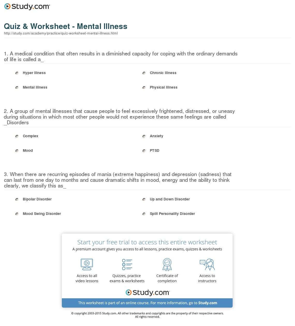 Mental Health Worksheets