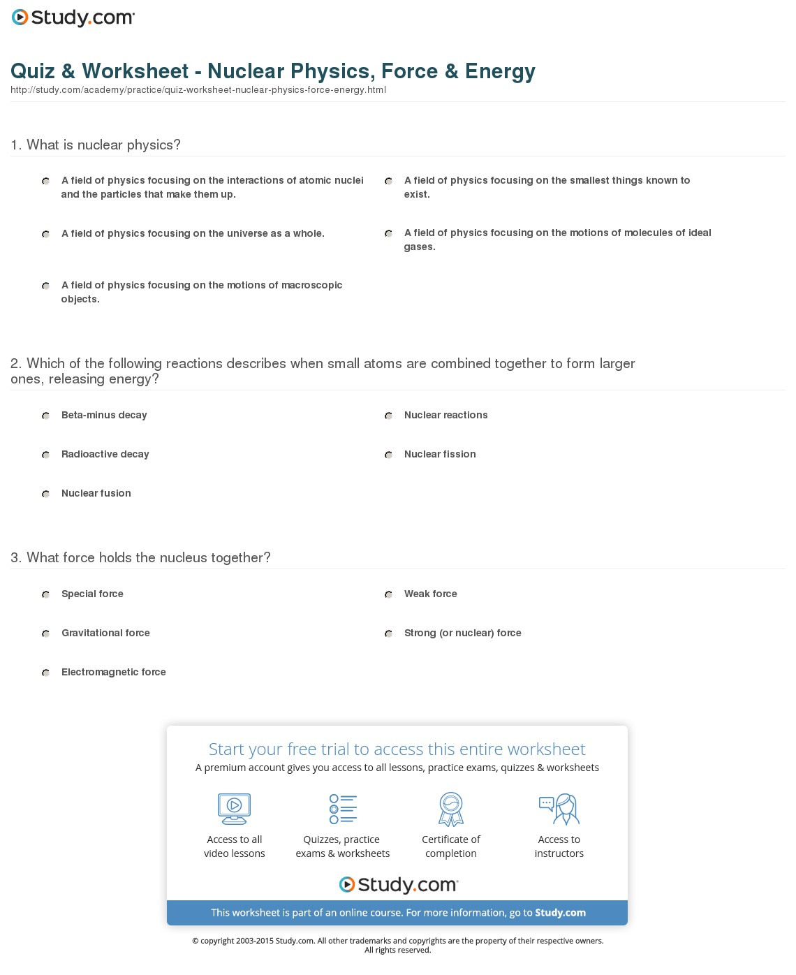 Quiz Worksheet Nuclear Physics Force Energy Study