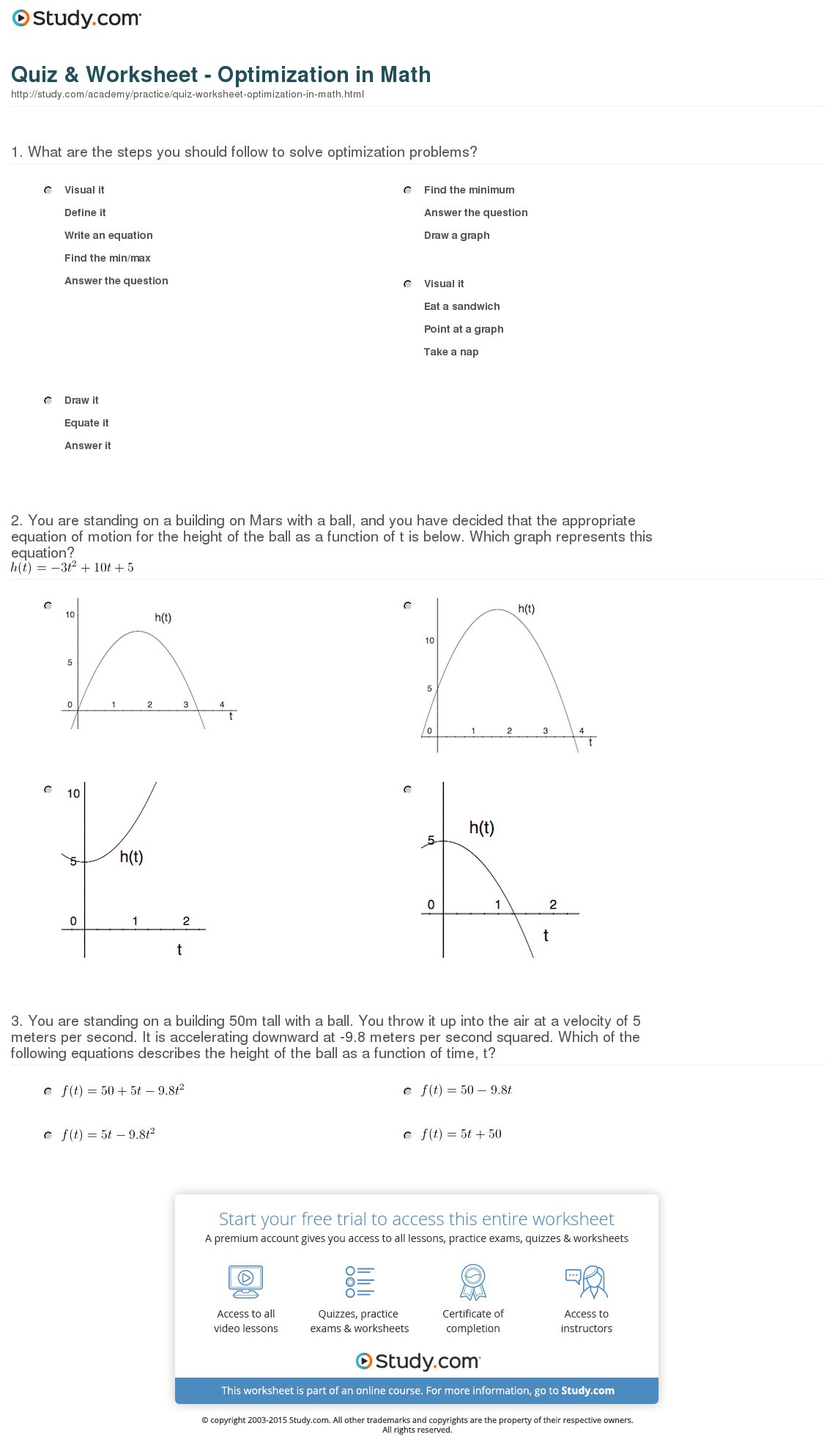 Quiz Worksheet Optimization In Math Study