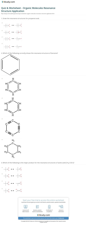 Quiz Worksheet Organic Molecules Resonance Structure