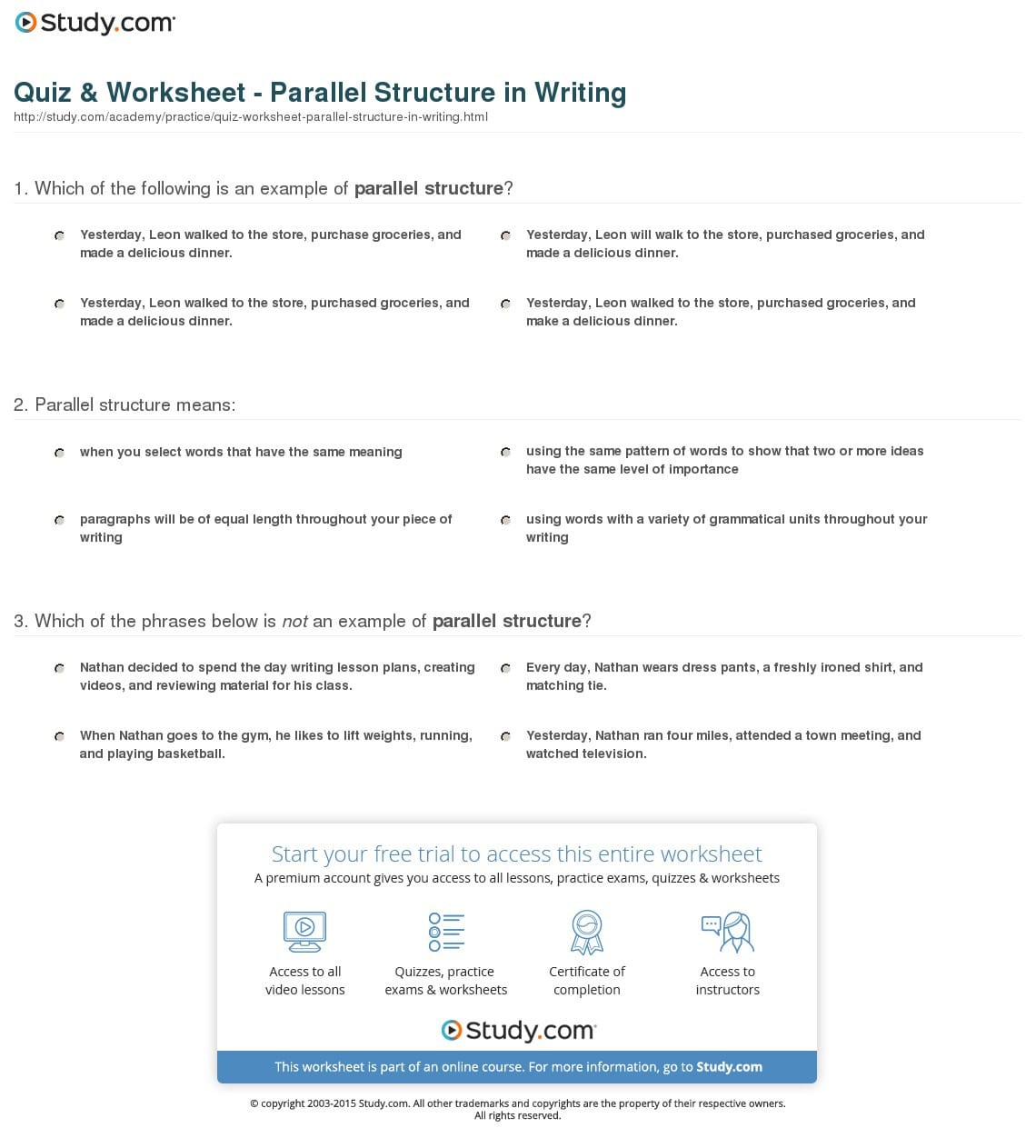 Quiz Worksheet Parallel Structure In Writing Study