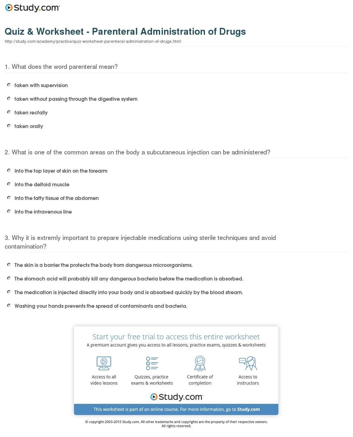 Quiz Worksheet Parenteral Administration Of Drugs