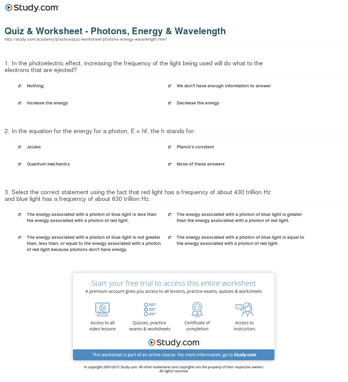 Wavelength Frequency And Energy Worksheet