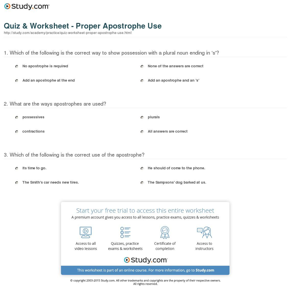 Quiz Worksheet Proper Apostrophe Use Study