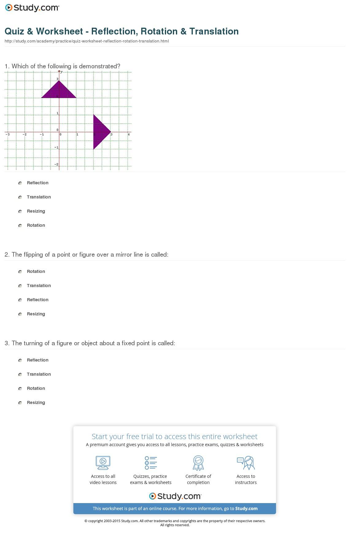 Quiz Worksheet Reflection Rotation Translation