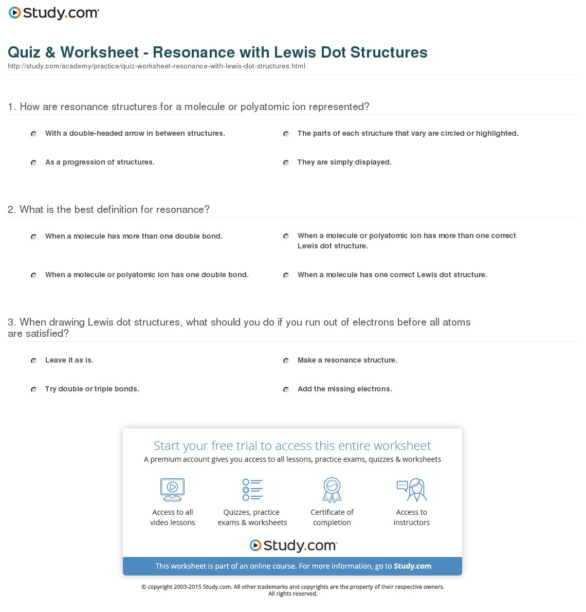 Quiz Worksheet Resonance With Lewis Dot Structures