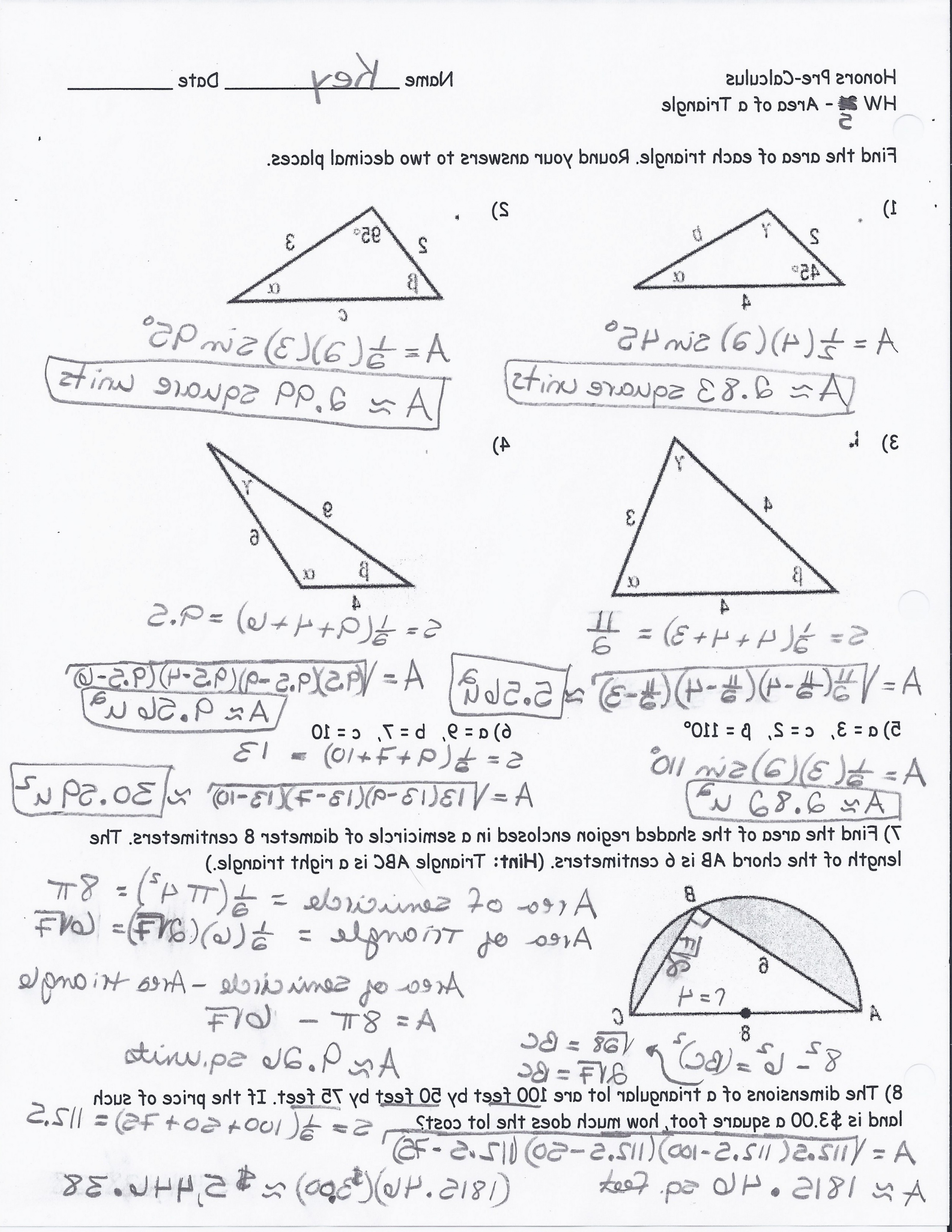 Quiz Worksheet Right Triangles With Inverse Trig Ratios