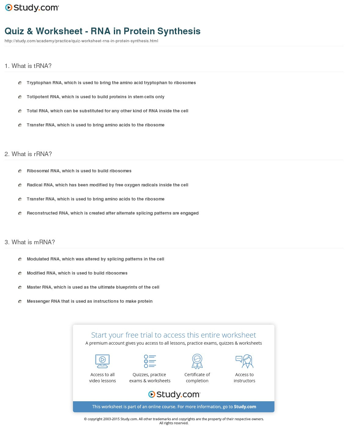 Quiz Worksheet Rna In Protein Synthesis Study