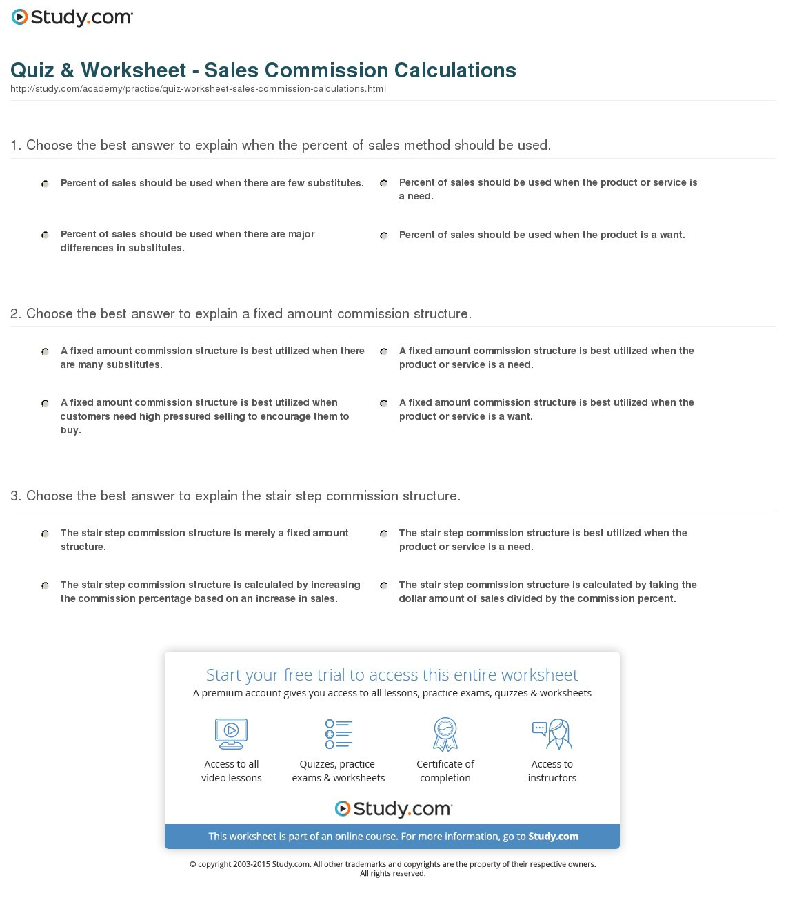 Quiz Worksheet Sales Commission Calculations Study