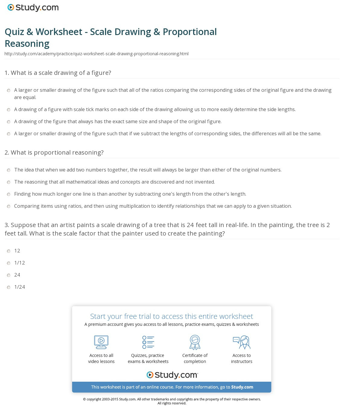 Quiz Worksheet Scale Drawing Proportional Reasoning