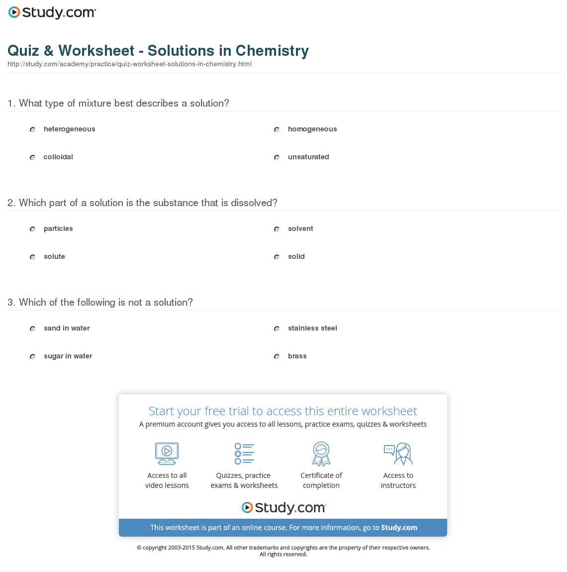 Quiz Worksheet Solutions In Chemistry Study