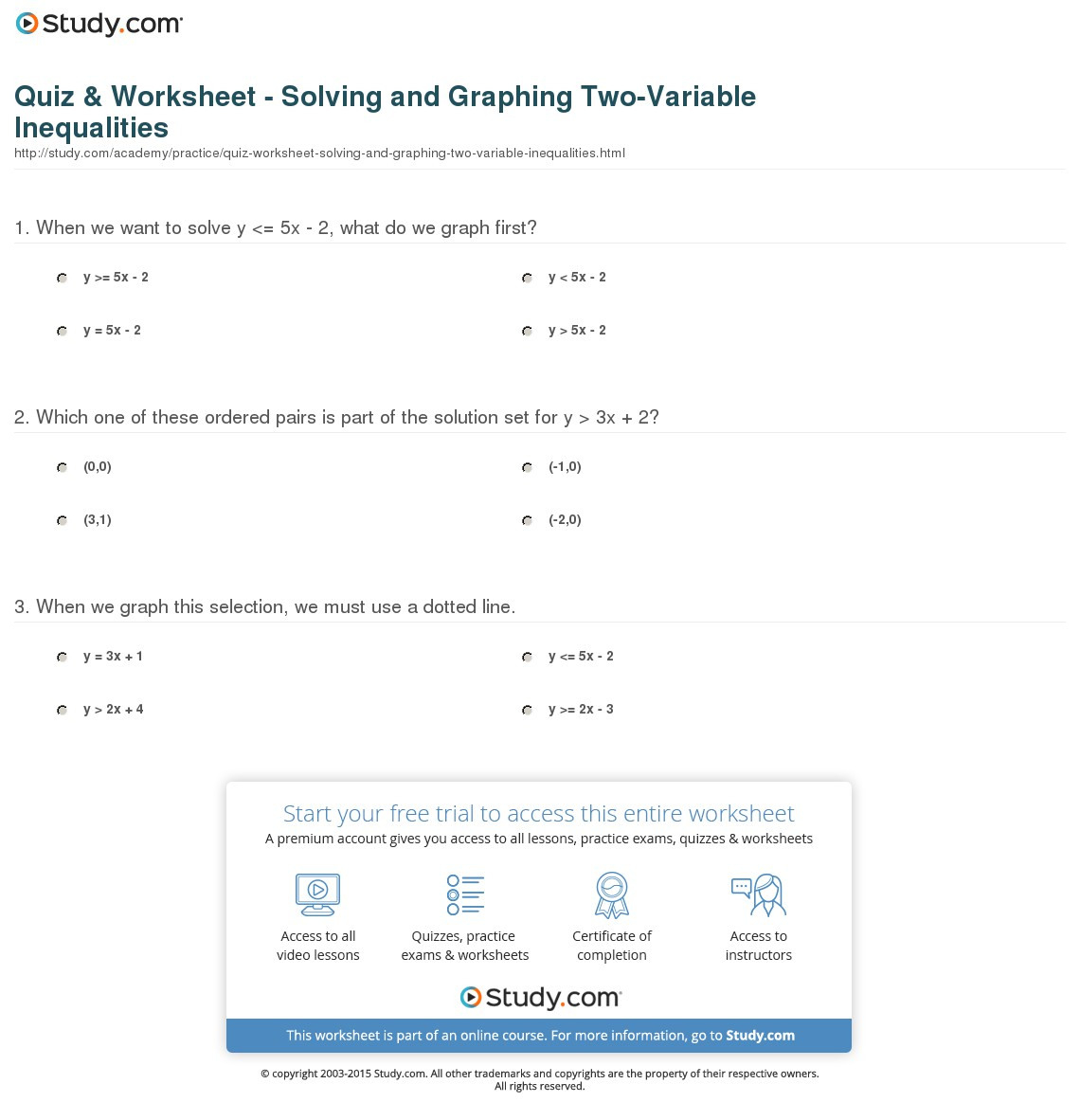 Quiz Worksheet Solving And Graphing Twovariable