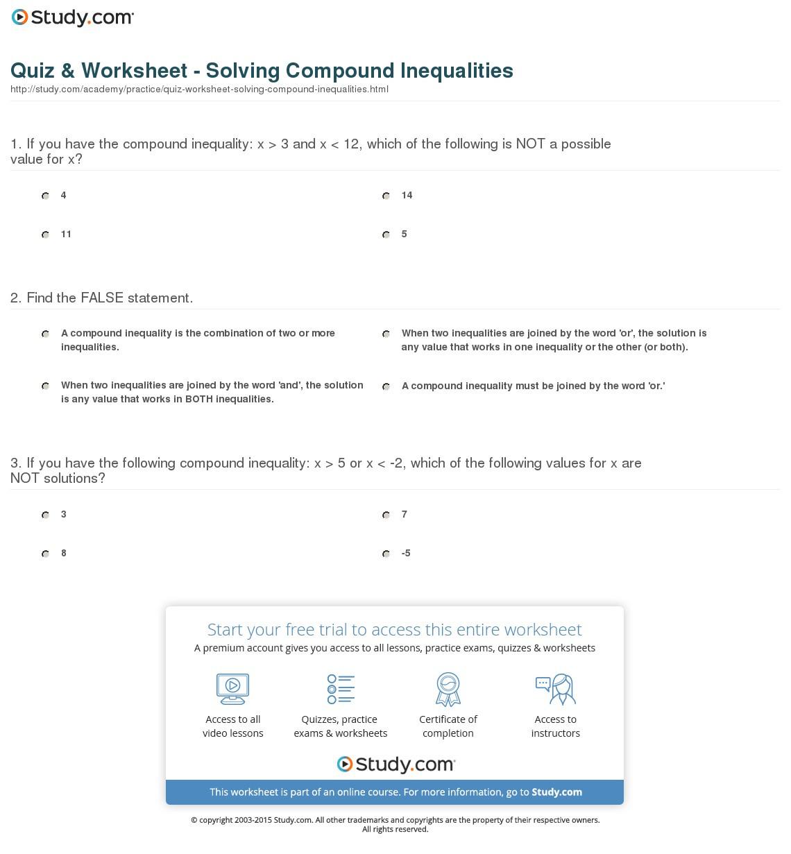 Quiz Worksheet Solving Compound Inequalities Study