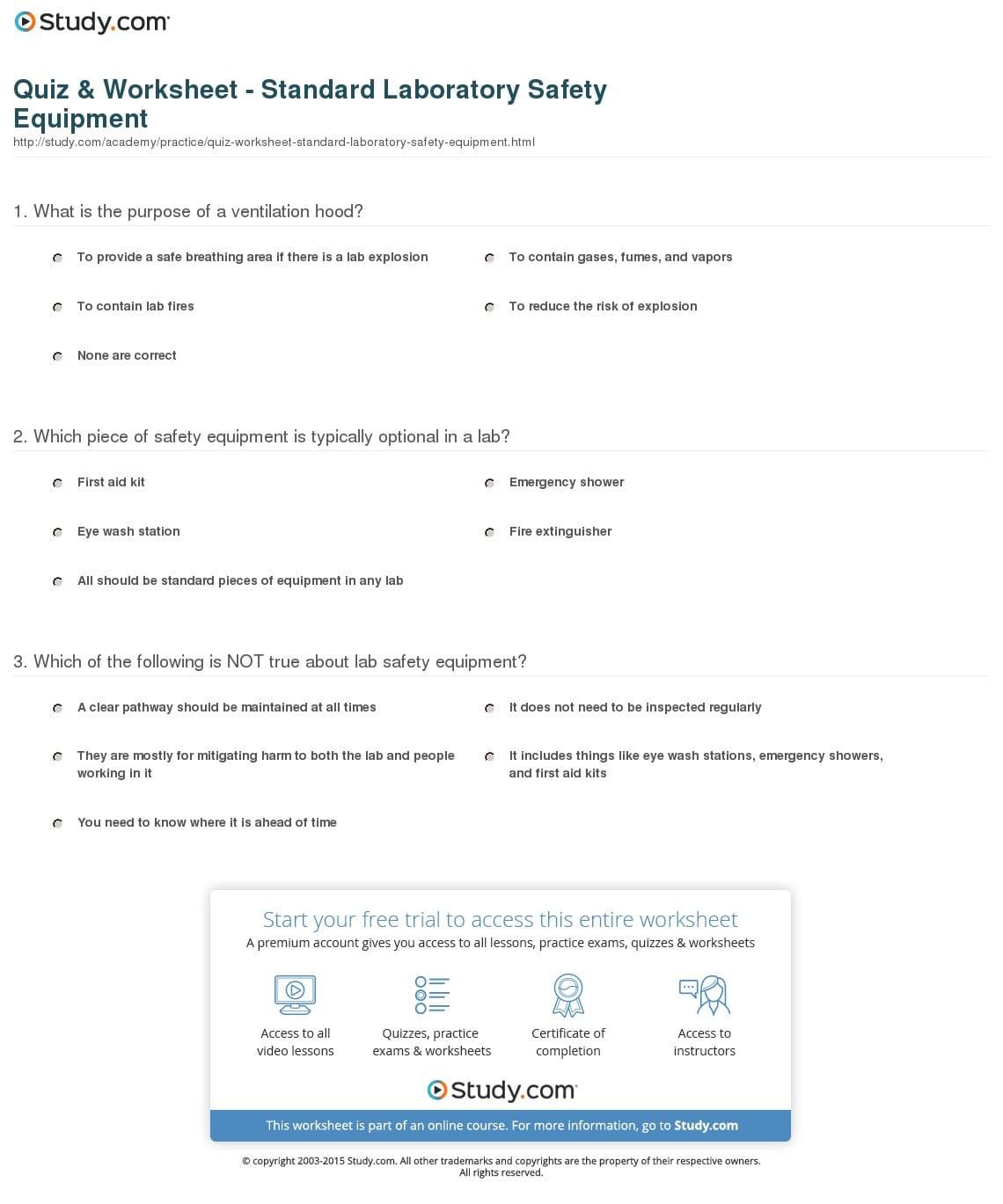 Quiz Worksheet Standard Laboratory Safety Equipment