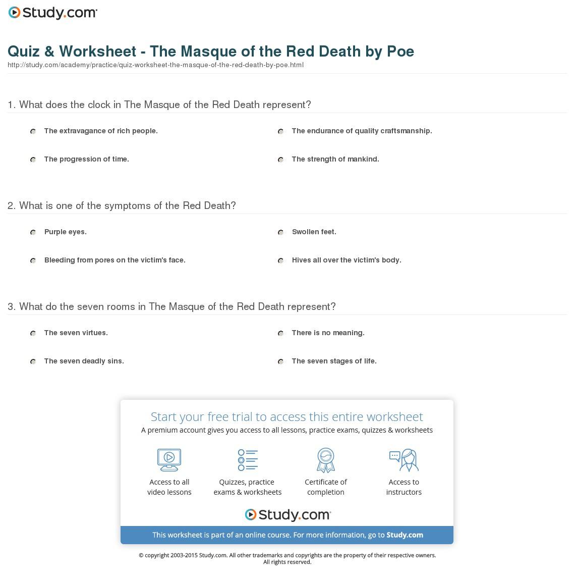 Masque Of Red Worksheet