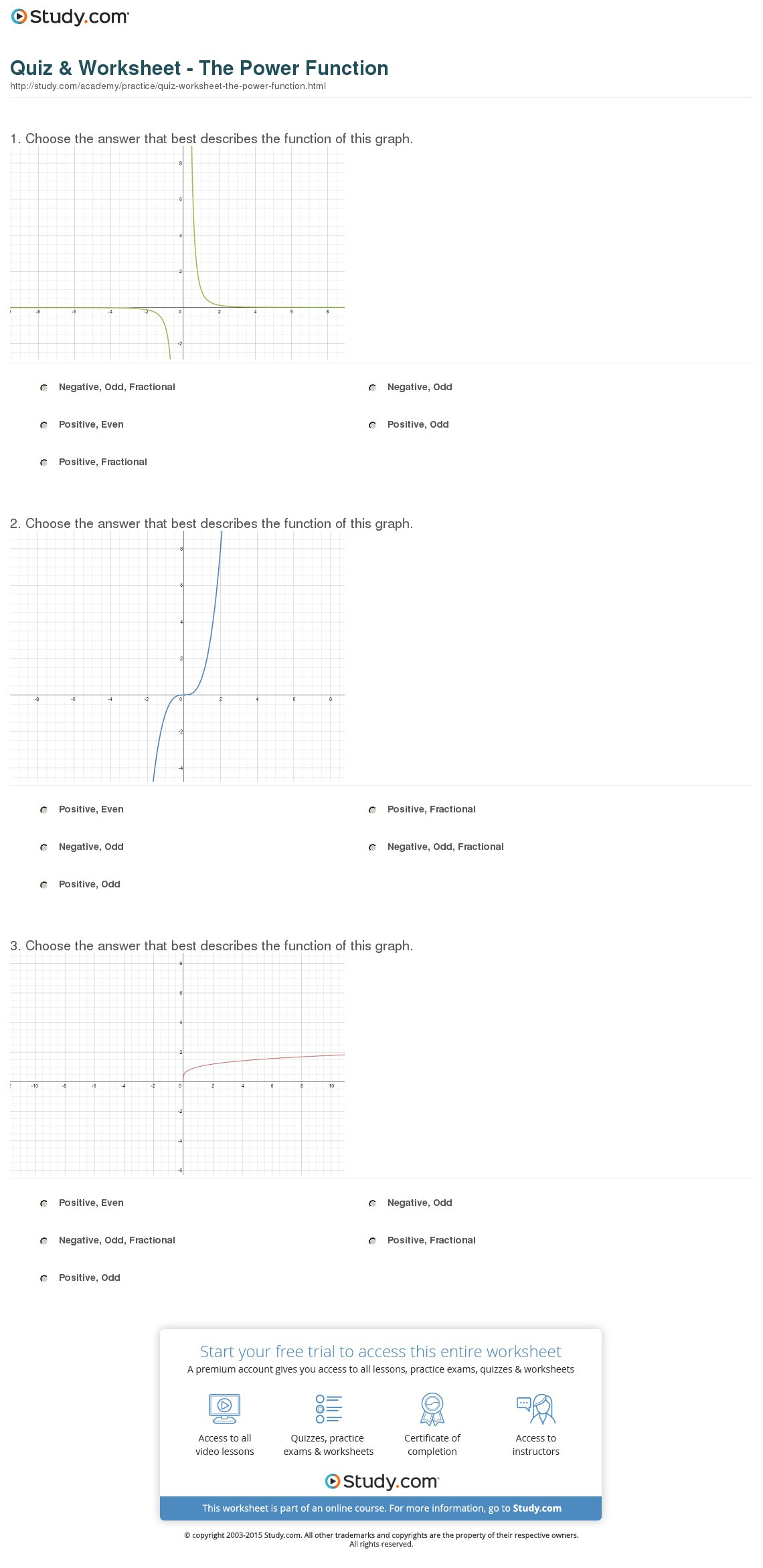 Quiz Worksheet The Power Function Study