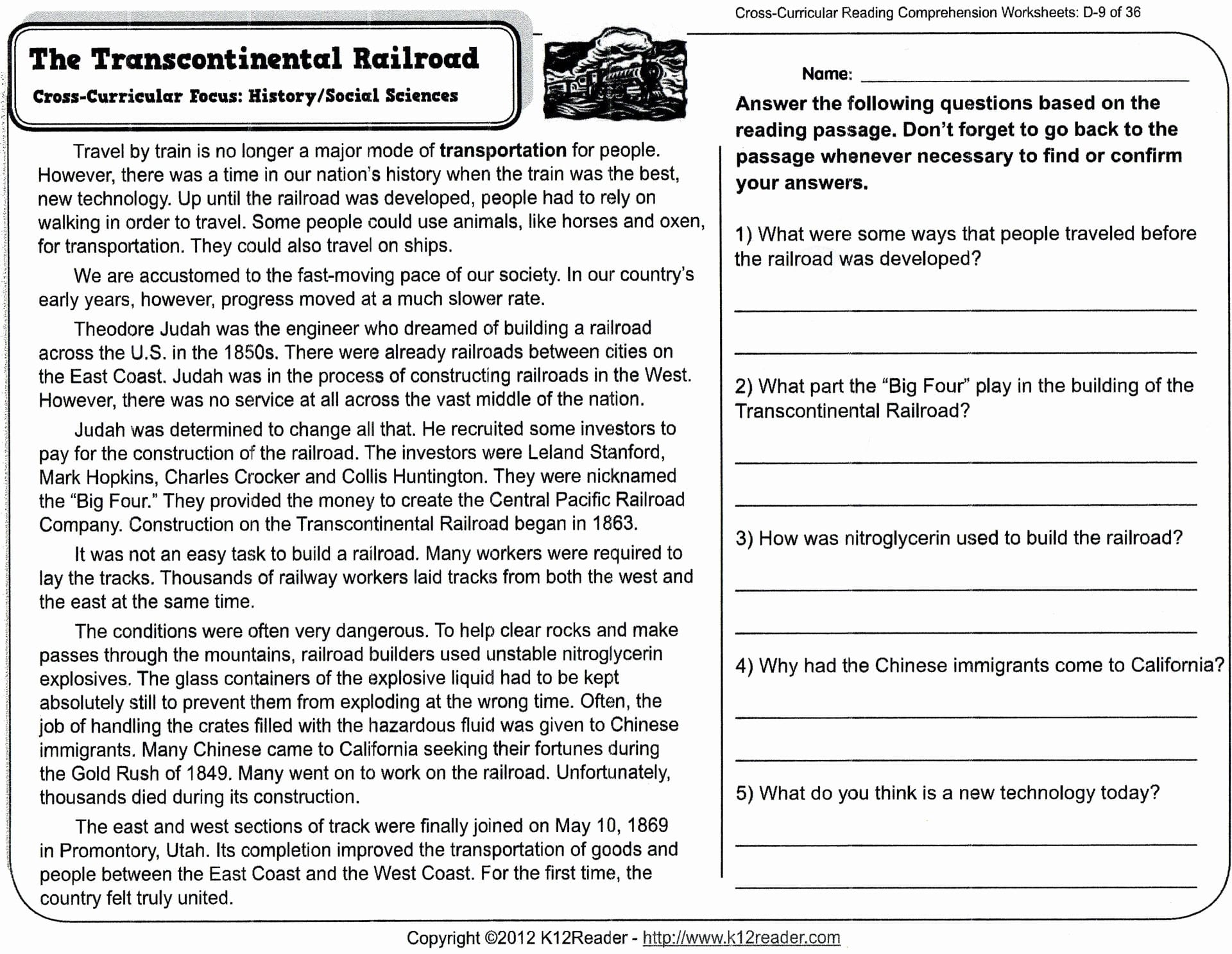 Reading Comprehension Worksheets For 8th Grade Free Report