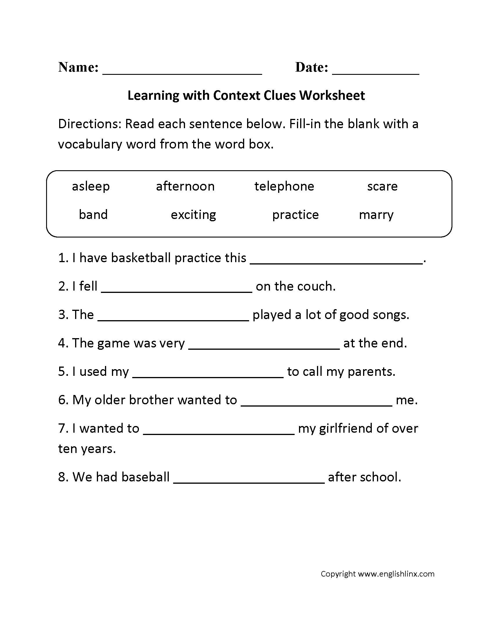 Context Clues Worksheets 3rd Grade