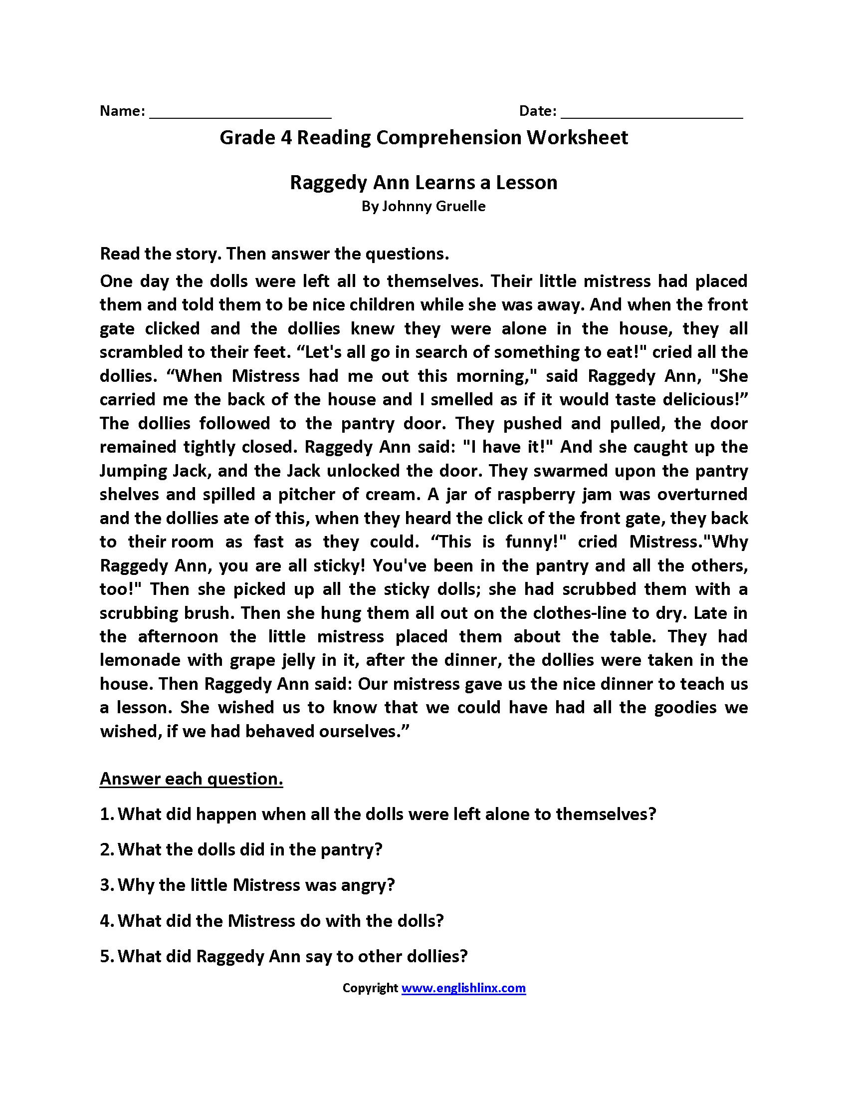 4th Grade Reading Worksheets
