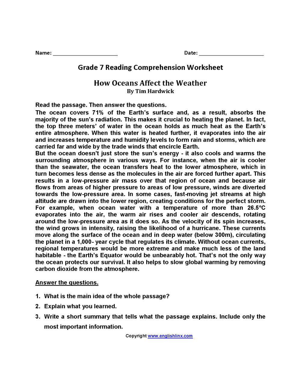 medium resolution of 7th Grade Reading Homework Worksheets   Printable Worksheets and Activities  for Teachers