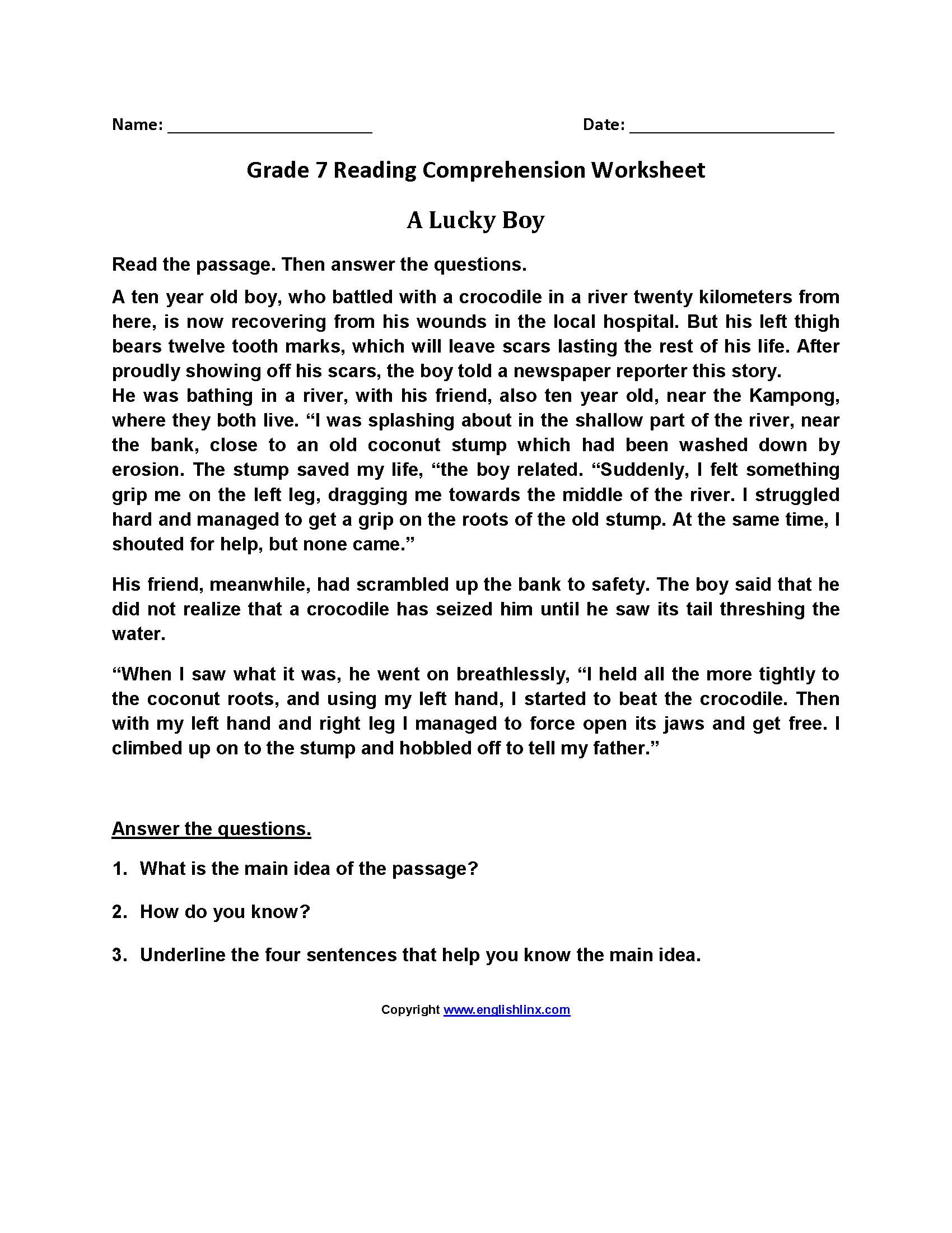 7th Grade Reading Worksheets