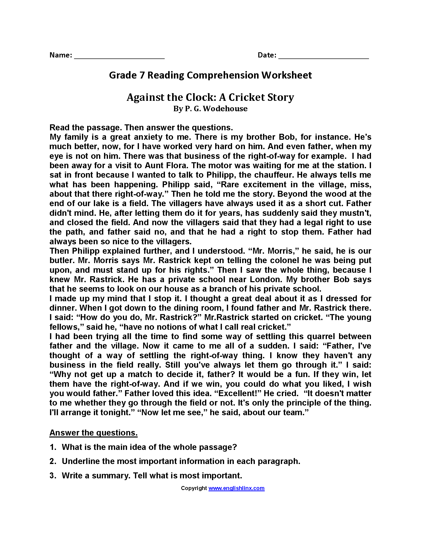 Reading Comprehension Worksheets 7th Grade
