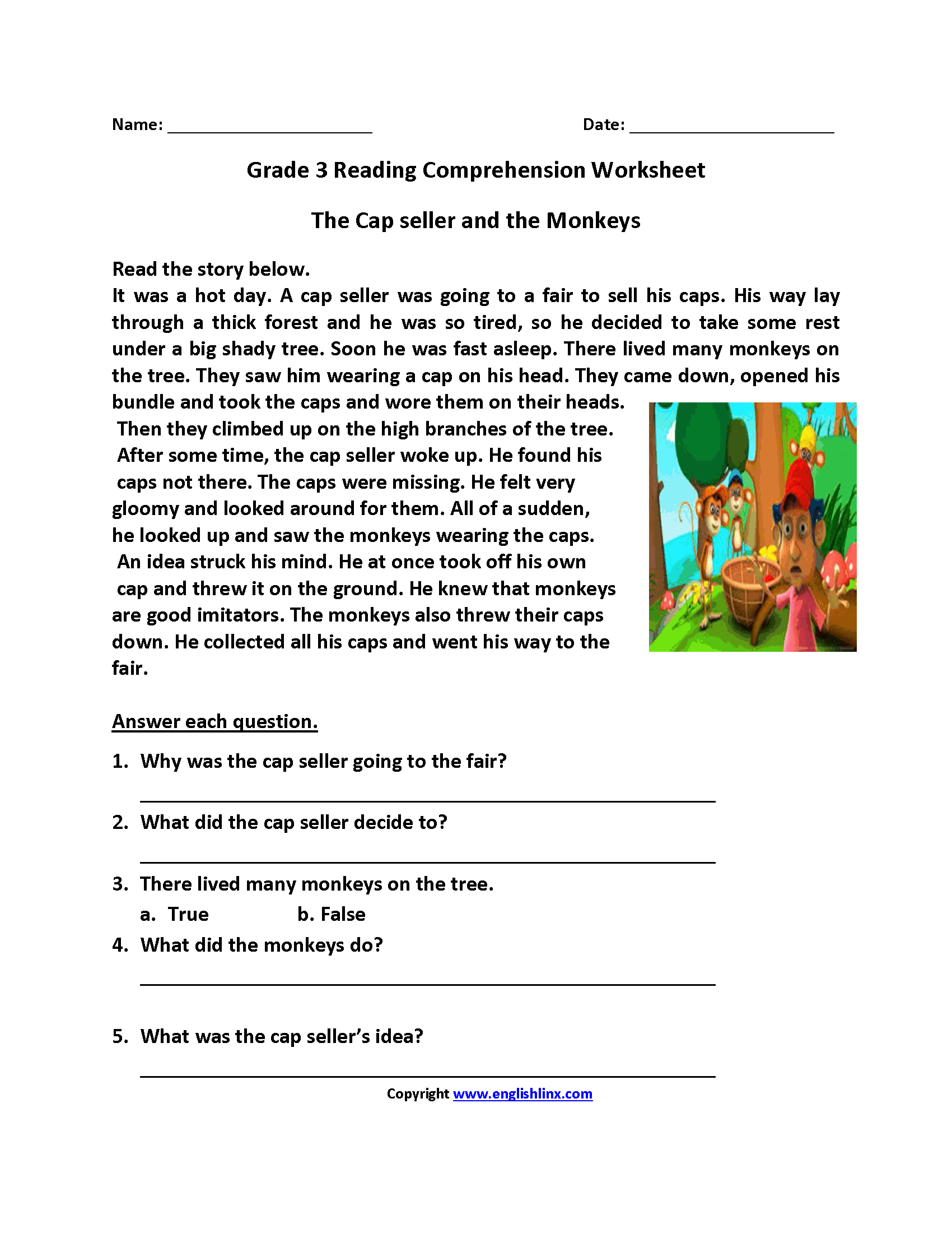 Free Reading Comprehension Worksheets For 3rd Grade