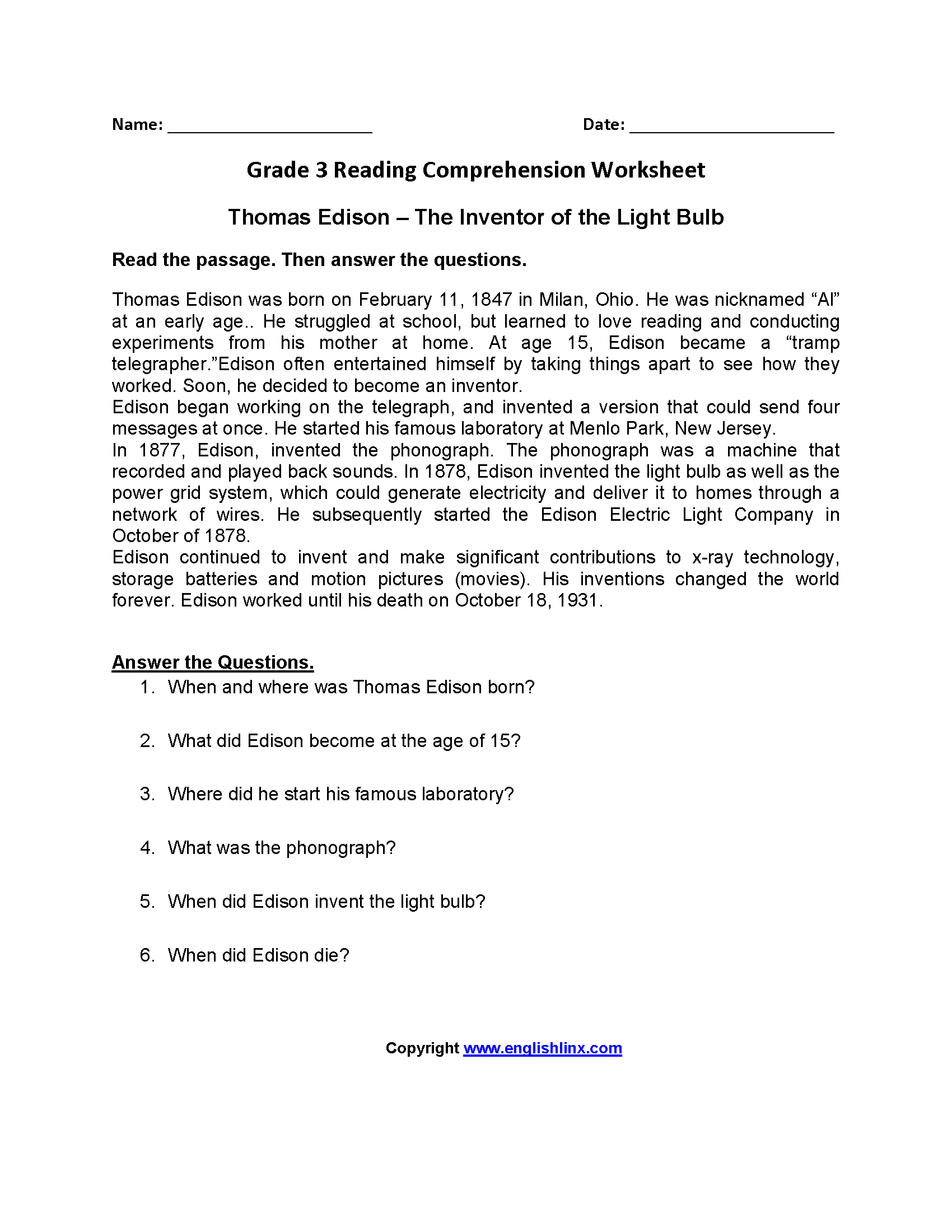 hight resolution of 3rd Grade Reading And Writing Worksheets   Printable Worksheets and  Activities for Teachers