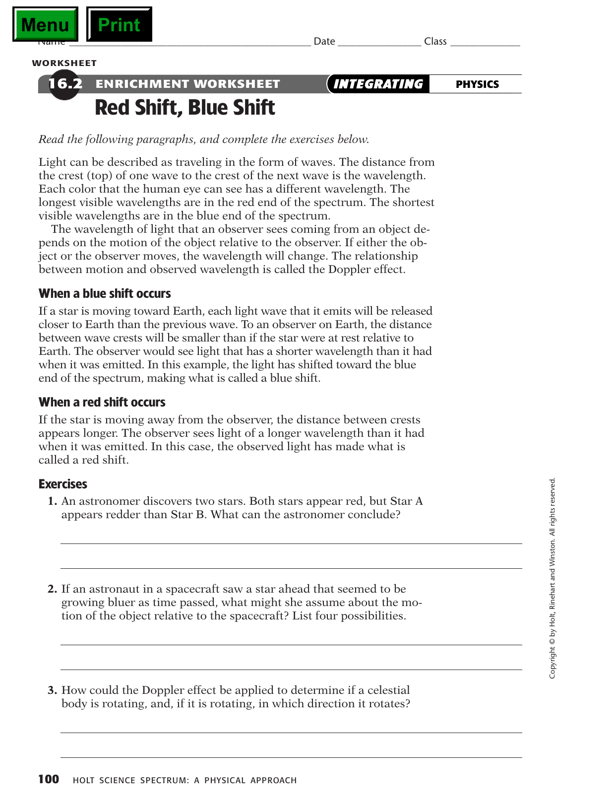 Red Shift Worksheet Answers