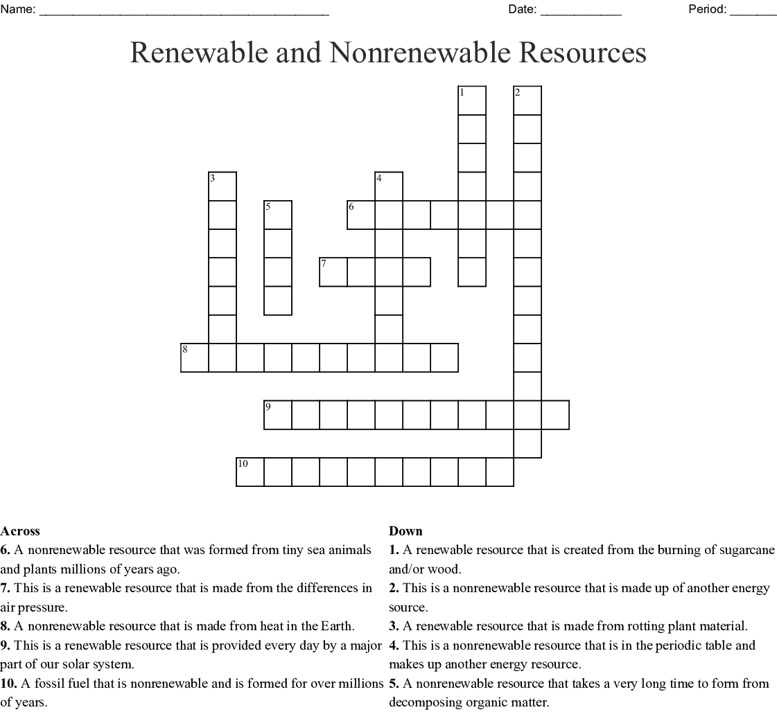 Renewable Energy Worksheet