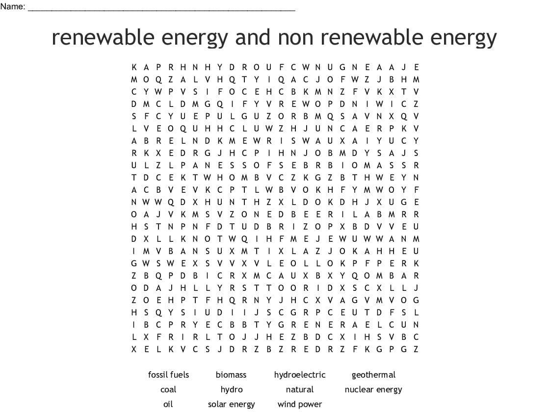 Renewable And Nonrenewable Energy Worksheets