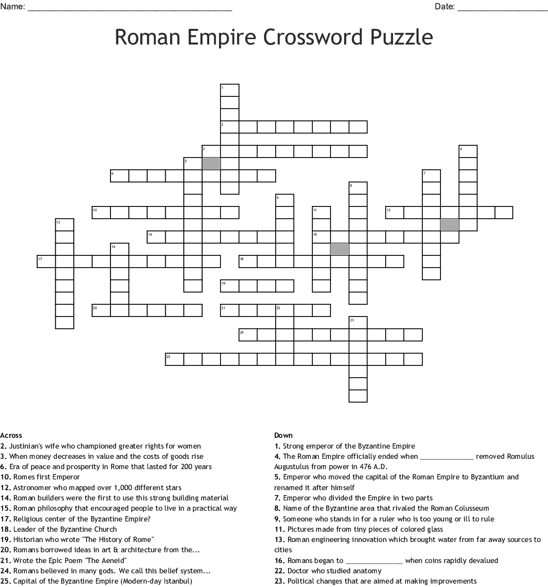 Roman Empire Crossword Puzzle Word