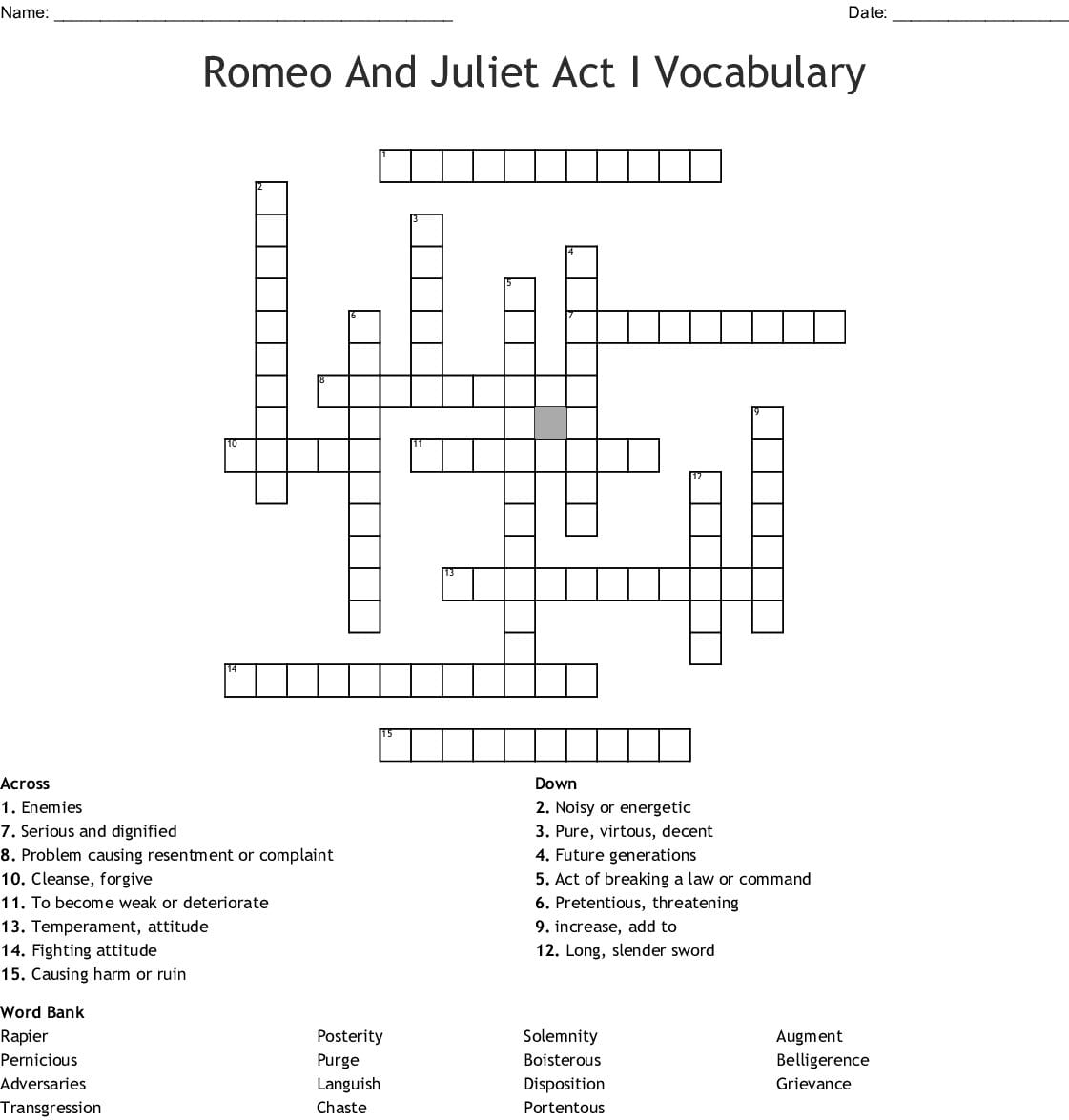 Romeo And Juliet Act I Vocabulary Crossword Word