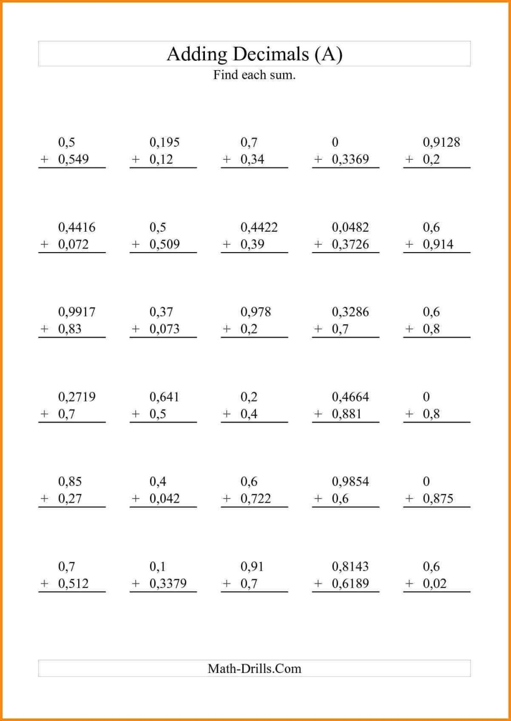 medium resolution of 5th Grade Math Worksheets With Decimals   Printable Worksheets and  Activities for Teachers