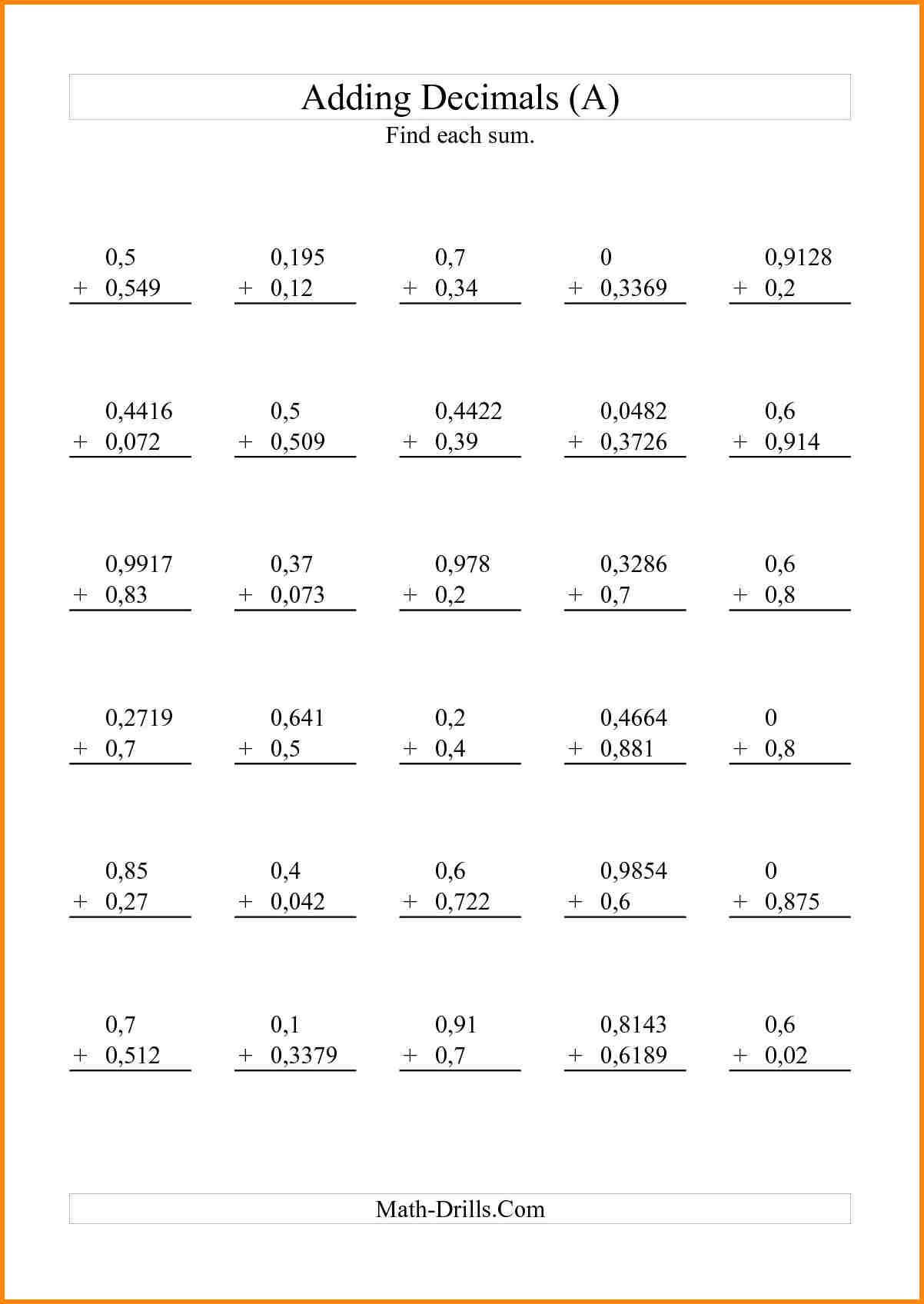 hight resolution of 5th Grade Math Worksheets With Decimals   Printable Worksheets and  Activities for Teachers